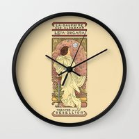 mucha Wall Clocks featuring La Dauphine Aux Alderaan by Karen Hallion Illustrations