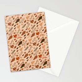 Autumn Leaves and Ladybugs Pattern Light Stationery Cards