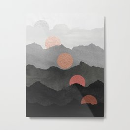 Abstract Mountains // Shades of Black and Grey Landscape Full Metallic Gold Moon Metal Print