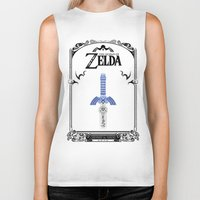 legend of zelda Biker Tanks featuring Zelda legend - Sword by Art & Be