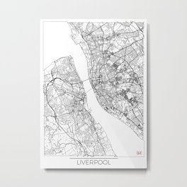 Liverpool Map White Metal Print