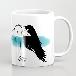 Women with Long black hair on wind in a doggy style sexy pose Coffee Mug