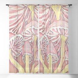 Mushrooms on Gold Sheer Curtain