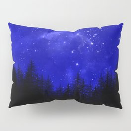 Blue Galaxy Forest Night Sky Pillow Sham