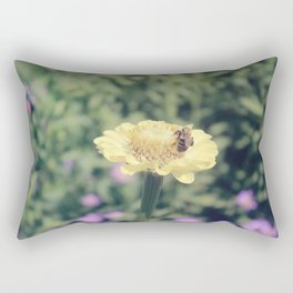 Bee on Yellow Flower Rectangular Pillow