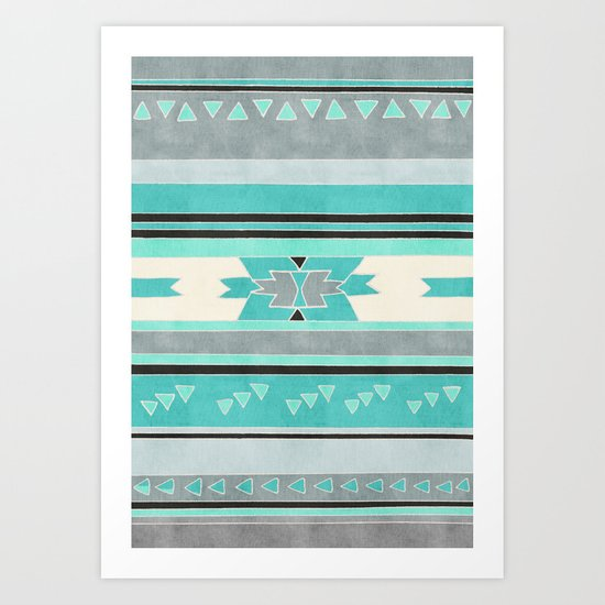Rustic Tribal Pattern in Teal, Charcoal and Cream Art Print