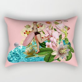 Girl at the Pool #collage Rectangular Pillow