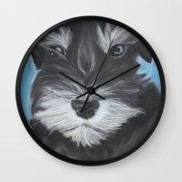 schnauzer Wall Clocks featuring Schnauzer by Christina Zoernig