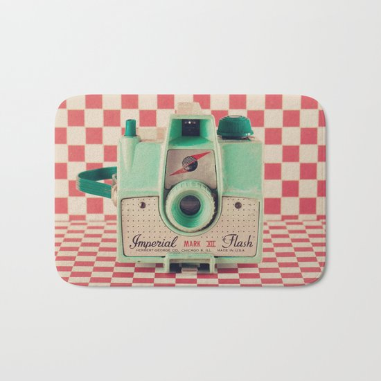 Mint Retro Camera on Red Chequered Background  Bath Mat
