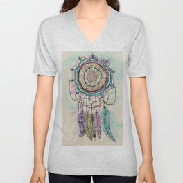 Modern tribal hand paint dreamcatcher mandala design Unisex V-Neck