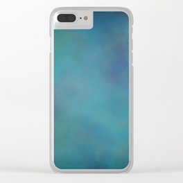 Abstract Soft Watercolor Gradient Ombre Blend 14 Teal, Purple, and Black Clear iPhone Case