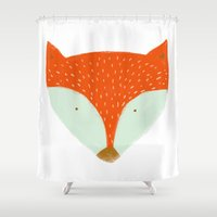 mr fox Shower Curtains featuring mr fox by Sweet Reverie