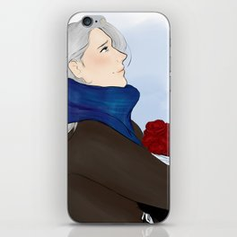 victor with roses - yuri on ice iPhone Skin