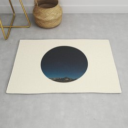 Mountain Against Beautiful Ombre Blue Sky & Star Sky Rug