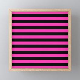 Hot Pink and Black Stripes Framed Mini Art Print