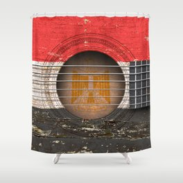 Old Vintage Acoustic Guitar with Egyptian Flag Shower Curtain