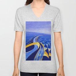 Velocità di motoscafo (Speedboat) Nautical landscape by Benedetta Cappa Marinetti Unisex V-Neck