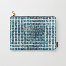 Turquoise Watecolor Tile Pattern Carry-All Pouch