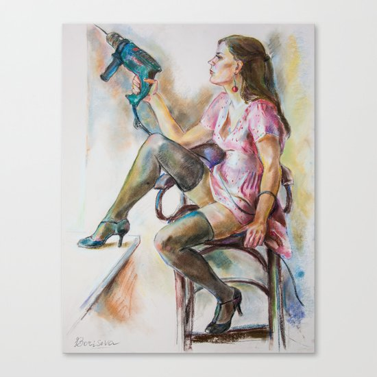 girl with a drill Canvas Print