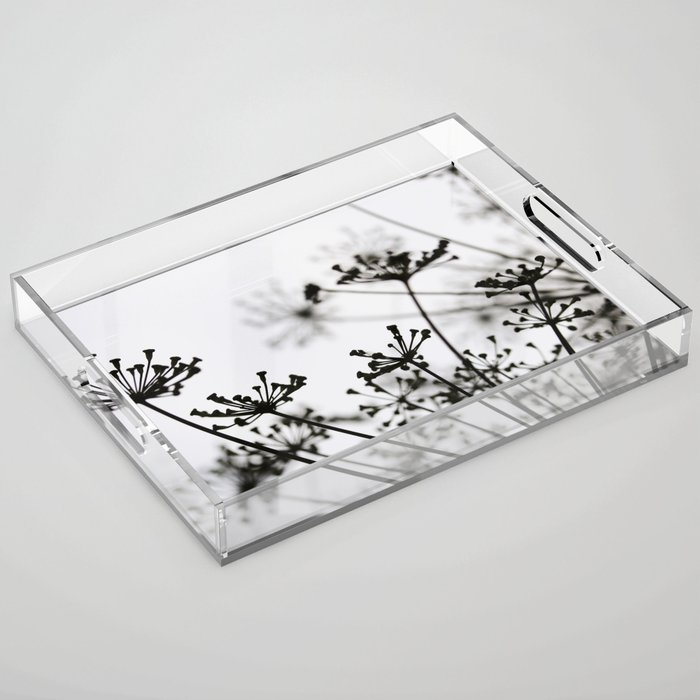 Black and white dill flower silhouette Acrylic Tray