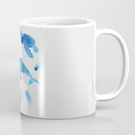 Blue Watercolor Sea Creatures Coffee Mug