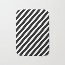 Black and White Diagonal Stripes Bath Mat