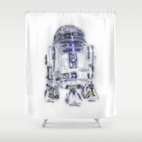 r2d2 Shower Curtains featuring R2D2 by KitschyPopShop
