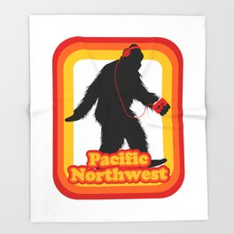 Retro Sasquatch Pacific Northwest Throw Blanket