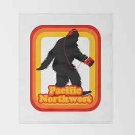 Retro Sasquatch Pacific Northwest Throw Blanket