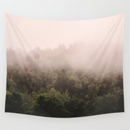 Pink Foggy Forest Landscape Photography Nature Earth Wall Tapestry