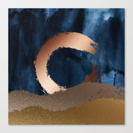 Navy Blue, Gold And Copper Abstract Art Canvas Print