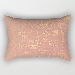 Mayan glyphs - rosegold palette Rectangular Pillow