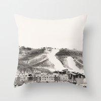 ski Throw Pillows featuring Ski Town by Patti Toth McCormick