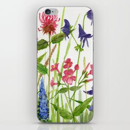Garden Flowers Botanical Floral Watercolor on Paper iPhone Skin