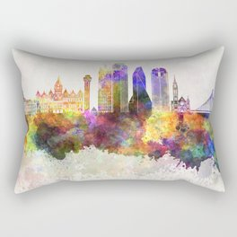 Dallas skyline in watercolor background Rectangular Pillow