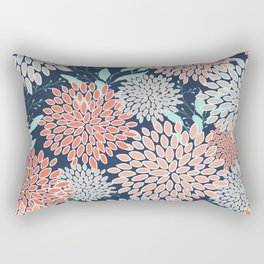 Leaves and Floral Prints, Navy Blue, Aqua, Gray and Coral Rectangular Pillow