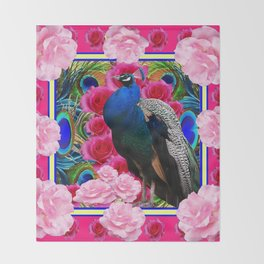 FUCHSIA  BLUE PEACOCK &  PINK ROSE GARDEN Throw Blanket