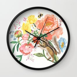 Garden Chipmunk Wall Clock