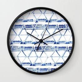 Tribal indigo pattern Wall Clock