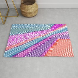 Abstract geometric pattern.Multicolored stripes Rug
