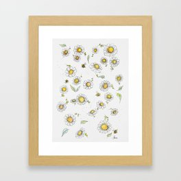 Bees and Daisies Framed Art Print