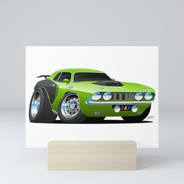 Classic Seventies Style American Muscle Car Cartoon Mini Art Print