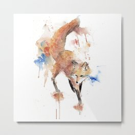 """Watercolor Painting of Picture """"Red Fox"""" Metal Print"""