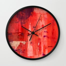 Desert Sun [9]: a pretty, minimal, abstract piece in red, pink, and purple Wall Clock