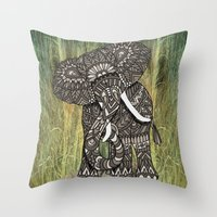 ornate elephant Throw Pillows featuring Ornate Elephant by ArtLovePassion