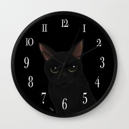 Black cat in black Wall Clock