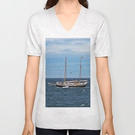 Sailboat and the Gannet Unisex V-Neck