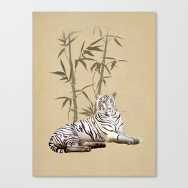 White Tiger in Bamboo Forest Canvas Print