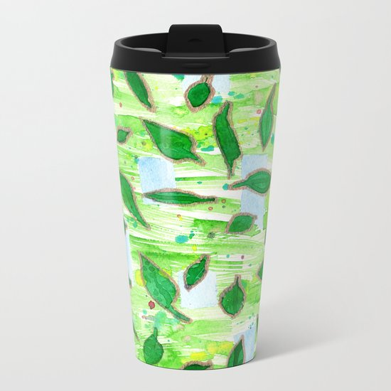 Modern Fresh Leaves Pattern in High Format Metal Travel Mug
