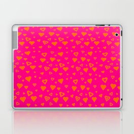 Hot Pink with lots of orange hearts Laptop & iPad Skin